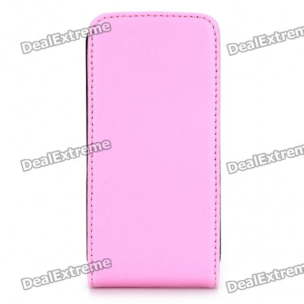 Real Leather Protective Case for Iphone 4/4S - Pink stylish protective pu leather case w magnetic closure for iphone 4 4s black