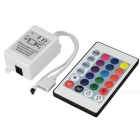 RGB LED Strip Control Box w/ IR 24-Key Remote Control (DC 12V)