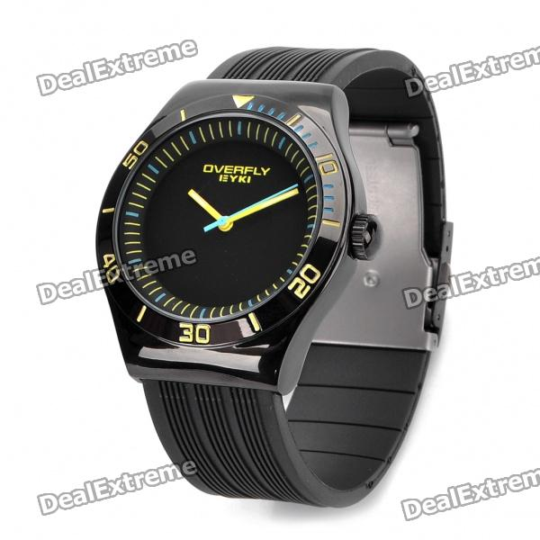 EYKI Stylish PU Silicone Band Stainless Steel Dial Wrist Watch - Black + Yellow (1 x LR626) stylish stainless steel band round dial green led wrist watch black silver 2 x cr2016