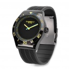 EYKI Stylish PU Silicone Band Stainless Steel Dial Wrist Watch - Black + Yellow (1 x LR626)