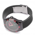EYKI Stylish PU Silicone Band Stainless Steel Dial Wrist Watch - Black + Red (1 x LR626)