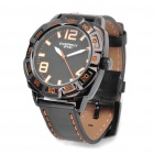 EYKI Stylish PU Leather Band Stainless Steel Dial Glow-in-the-Dark Wrist Watch - Black (1 x LR626)