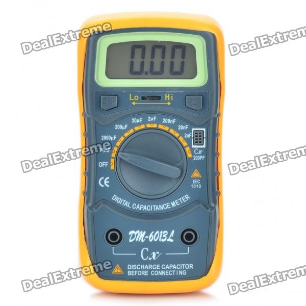 DM-6013L 1.8 LCD Digital Capacitor Meter - Orange + Black (1 x 6F22/9V Battery) professional capacitance inductance meter m4070 multimeter autoranging lcr bridge meter 100h 100mf 20mr with smd test clip