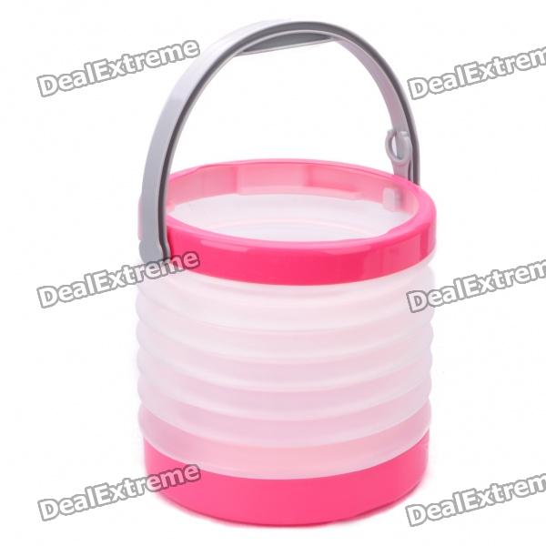 Outdoor Camping PVC Folding Water Bucket - Pink + White (8~8.5L) harlem hl 956 convenient folding outdoor pvc pail bucket translucent white green 10l