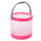 Outdoor Camping PVC Folding Water Bucket - Pink + White (8~8.5L)