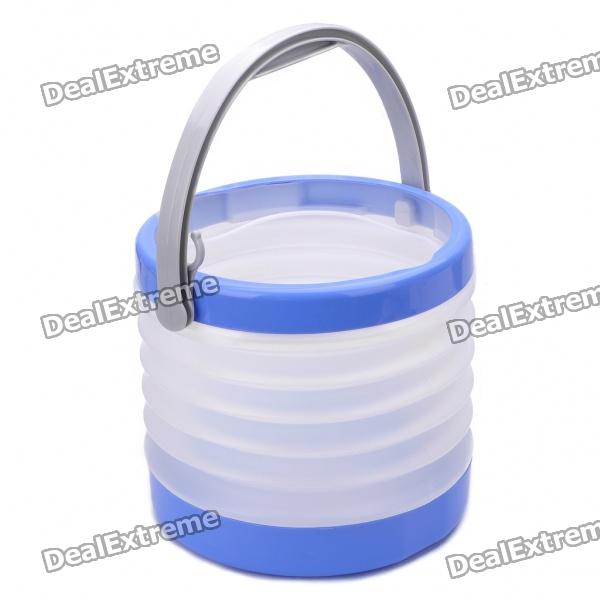 Outdoor Camping PVC Folding Water Bucket - Blue + White (8~8.5L)