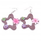 Stylish Handmade Star Shaped Flower Polymer Clay Earrings (Pair / Random Color)
