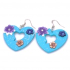 Stylish Handmade Heart Shaped Flower Polymer Clay Earrings (Pair / Random Color)