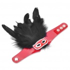 Gorgeous Rhinestone Feather Mask Style PU Leather Bracelet