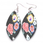 Stylish Hand Made Flower Pattern Leaf Shaped Polymer Clay Earrings (Random Color / Pair)