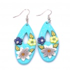 Stylish Handmade Oval Shaped Flower Polymer Clay Earrings (Pair / Random Color)