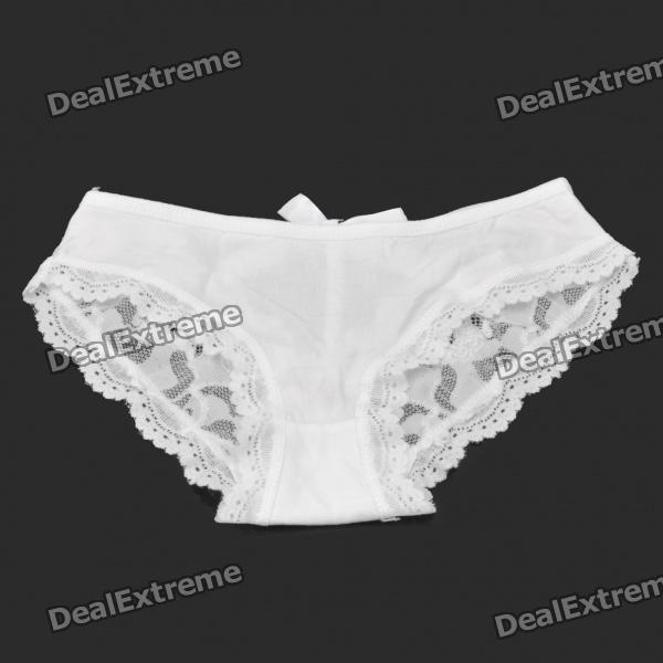 Sexy Women's Rhinestone Bowknot Lace Cotton Underpants - White