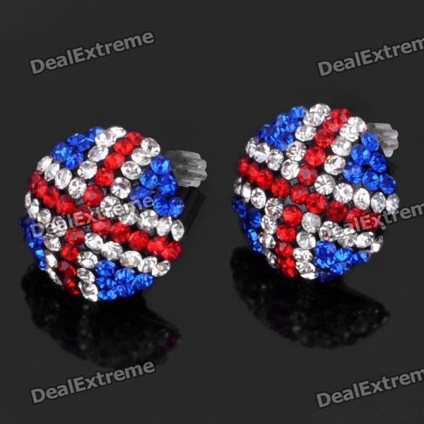 Stylish Iceland National Flag Pattern Shining Rhinestone Earrings (Pair)