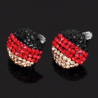 Stylish Germany National Flag Pattern Shining Rhinestone Earrings (Pair)