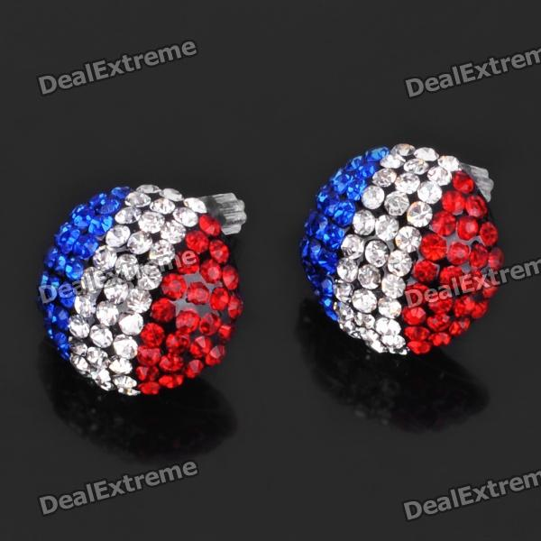 Stylish French National Flag Pattern Shining Rhinestone Earrings (Pair)