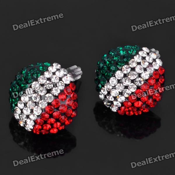Shining Italian National Flag Pattern Rhinestone Earrings (Pair) italian visual phrase book