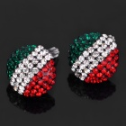 Shining Italian National Flag Pattern Rhinestone Earrings (Pair)