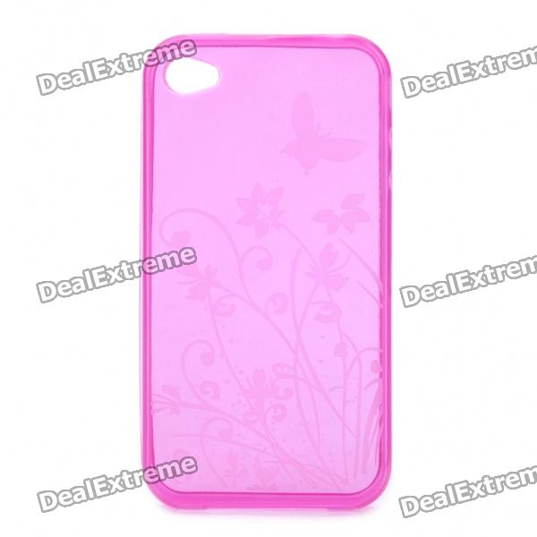 Butterfly and Flower Pattern Protective Crystal TPU Back Case for iPhone 4 / 4S - Pink
