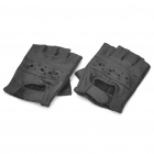 Sport Half-Finger Leather Gloves - Black (Pair)