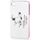 ZOMGO Chinese Brush Painting Imitation Ceramic Aluminum Back Case for iPhone 4 / 4S - Horse