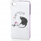 ZOMGO Chinese Brush Painting Imitation Ceramic Aluminum Back Case for iPhone 4 / 4S - Purple