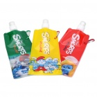 Portable Folding Anti-Bottle Water Bottle with Carabiner Clip (Random Color 3-Pack)