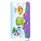 Plants vs Zombies Pattern Protective Plastic Back Case for iPhone 4S - White + Blue + Purple