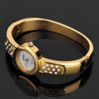 Women's Elegant Rhinestone Bracelet + Wrist Watch Set - Golden