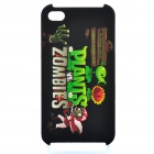 Plants Vs Zombies Pattern Protective Plastic Back Case for iPhone 4S - Black + Green
