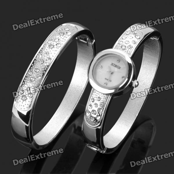 Women's Elegant Rhinestone Bracelet + Wrist Watch Set - Silver rhinestone inlay alloy bracelet oval watch