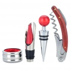 Wine Pourer + Wine Drip Stop Ring + Stopper + Corkscrew/Opener with Foil Cutting Knife Set