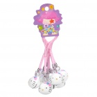 Cute Hello Kitty Style Small Bell Cell Phone Straps - White + Pink (10 - Pack)