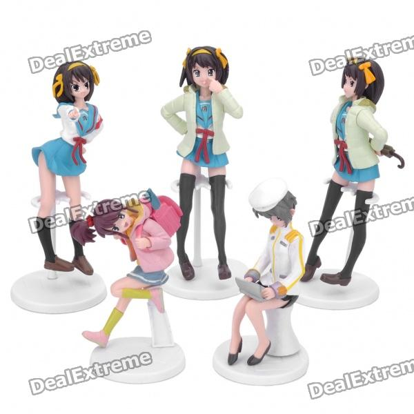 Different Action Haruhi Suzumiya Figure Toy Sets with Base (5-Figure Pack)