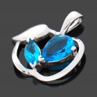 Stylish Apple Style 925 Silver Crystal Pendant - Silver + Blue