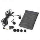 Fashion In-Ear Earphone with Pouch & Ear Buds - Black (3.5mm Jack / 120cm-Cable)