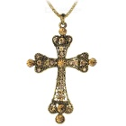 Cross Style Pendant Necklace - Golden + Brown (77.5CM - Length)