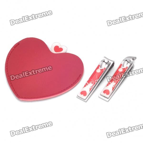 Heart Style Stainless Steel Mirror + Flat Nail Clippers + Oblique Nail Clippers Set - Red + Silver 3 pcsnew arrival stainless steel nail clippers paronychia special finger nail clippers plier pedicuretool toe cuticle scissors