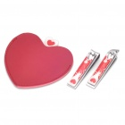 Heart Style Stainless Steel Mirror + Flat Nail Clippers + Oblique Nail Clippers Set - Red + Silver