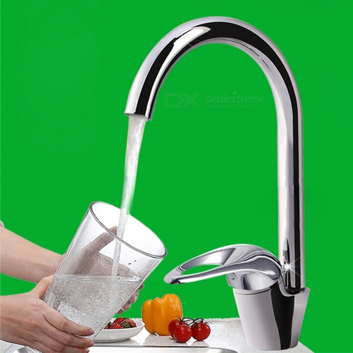Chrome Finish Copper Kitchen Faucet Water Tap - Silver