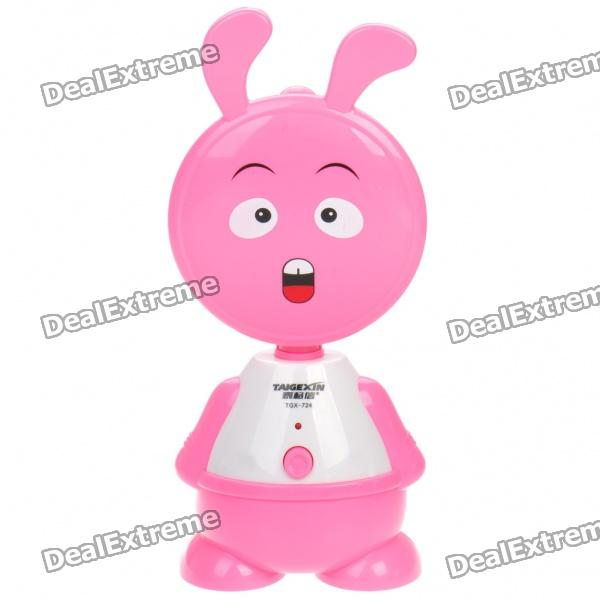 TAIGEXIN Rabbit Style Rechargeable 10W 20-LED 2-Mode White Light Desktop Lamp - Pink + White