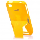 Creative Protective PVC Kickstand Transformer Back Case for iPhone 4 - Yellow