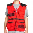 Multi-Function Cotton Fabric Fishing / Photography Vest - Red (Size-XL)