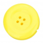 Cute Button Style Plastic Earphone Cable Winder/Organizer with Clip - Yellow