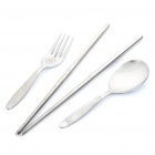 Stainless Steel Travel-Easy Dinner Set with Carrying Case - Large Size (Fork + Spoon + Chopsticks)