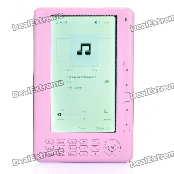 """7,0 """"LCD E-Book Reader Multimedia Player w / FM / TF Slot - Pink (4 GB)"""