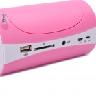 "2.7"" Mirror LCD Portable Can Style MP3 Player Speaker w/ FM / SD / USB / 3.5mm AUX - Pink"