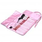 Portable Beauty Cosmetic Makeup Brush Set with Pink Bag (15-Piece Pack)