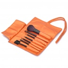 Portable Beauty Cosmetic Makeup Brush Set with Golden Bag (7-Piece Pack)