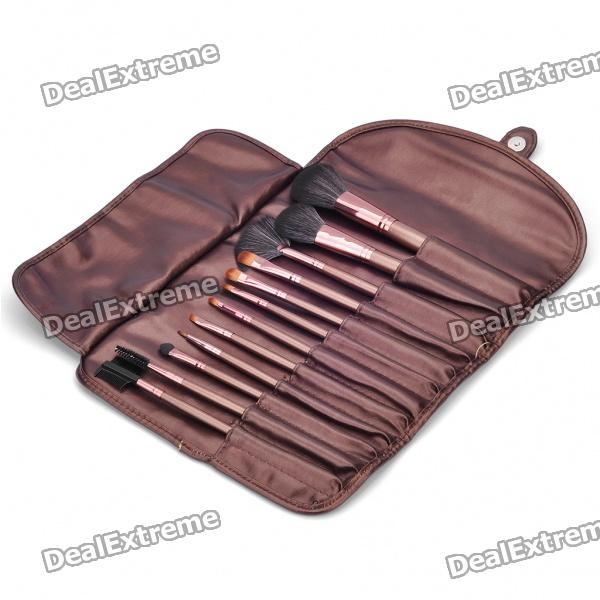 Portable Beauty Cosmetic Makeup Brush Set with Brown Bag (12-Piece Pack)