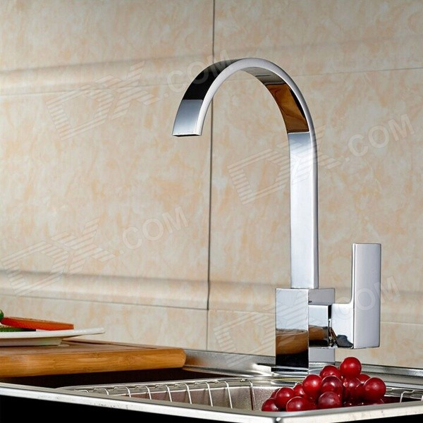 Modern Chromed Copper Waterfall Sink Faucet Water Tap - Silver kitchen faucets black oil brushed rotating copper crane kitchen sink faucet hot and cold water brass taps kitchen mixer tap